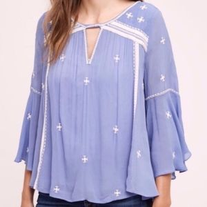 Floreat // Adena Embroidered Blue Bell Sleeve Top